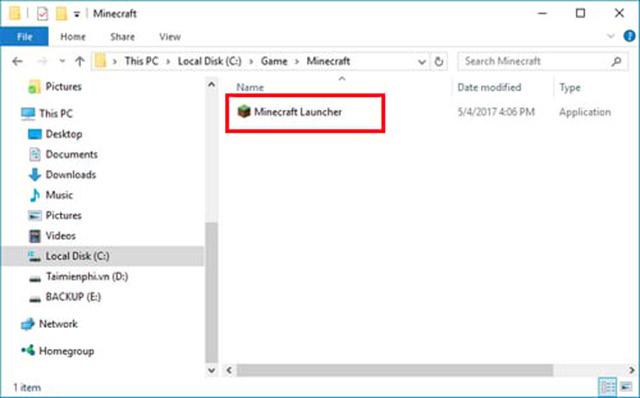 Sao chép File Minecraft Launcher vào trong thư mục bạn vừa tạo